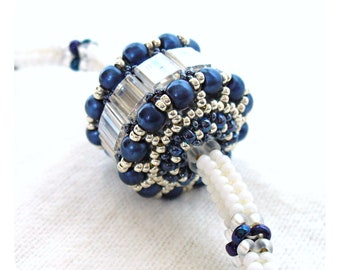 Herringbone Jewelry, Bridal Bead Necklace, Beadwoven Rope, Color Block Necklace, White Blue & Silver, Beaded Bead Pendant - Etsy UK Seller