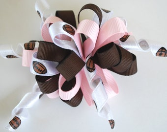 Loopy Korker Hair Clip / Bow - Football - Brown, White, Pink