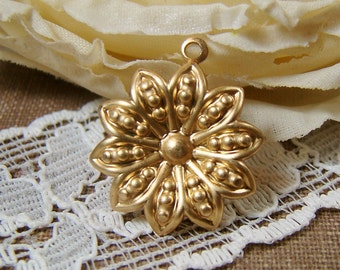 Raw Brass Flower Charm Dapped Floral Filigree Drops Setting 15mm - 4