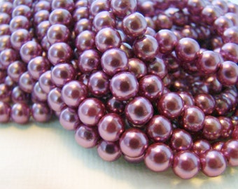 Vintage Purple Amethyst 5mm Round Faux Pearl Beads - 20