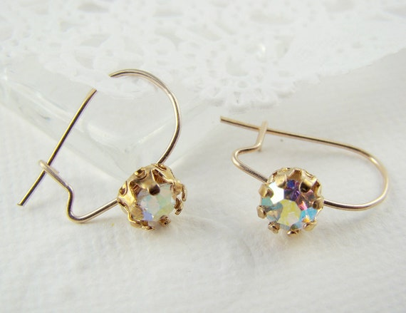 Gold Plated Ear Wires Hooks with Swarovski AB Crystal Rhinestones (1 pair)
