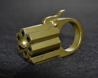 "Hexa-Gun Ring ""Aged Brass"" Acrylic Static Prop steampunk diesel punk ,sci fi retro"