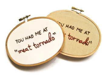 Ron Swanson Embroidery Hoop : Meat Tornado - Parks and Rec TV Quote Home Decor Wall Art