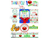 Elmo Inspired Birthday Party Package-Invites,Banner,Thank You Cards,Labels, Stickers,door hanger, party hats, signs, dorothy goldfish