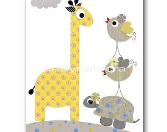 Art for Kids Room Kids Wall Art Baby Girl Nursery Room Decor Baby Nursery Print Kids Print Girl Print Giraffe Turtle Birds Gray Yellow