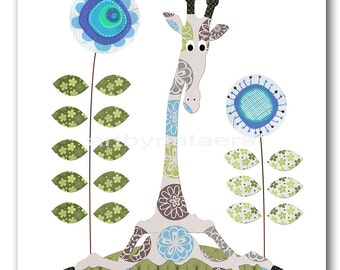 Baby Print Art for Kids Room Kids Wall Art Baby Boy Nursery Baby Room Decor Baby Nursery print giraffe decoration green blue