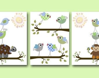 Art for Children Kids Wall Art Baby Boy Room Decor Baby Nursery Decor Baby Boy Nursery Art set of 3 Turtle Monkey Birds Tree Green Blue