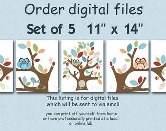"""DIGITAL file, Art for Children , Kids Wall Art, Baby Girl Room Decor, set of 5 11"""" x 14"""" DIGITAL image"""