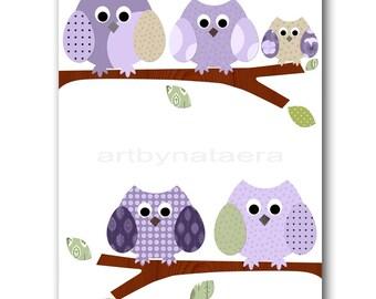 Childrens art kids wall art Baby Girl Room Decor owls kids art print Baby Girl nursery print owls decoration violet purple artwork