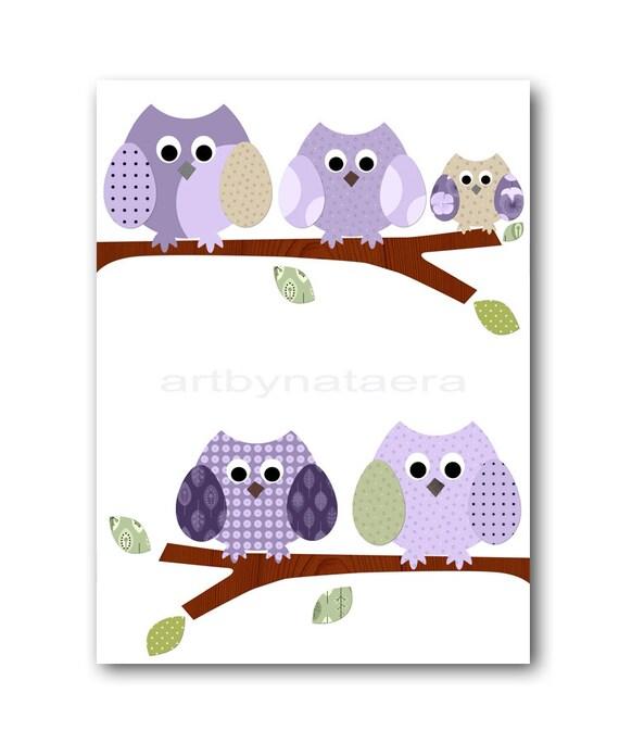 Childrens Art Kids Wall Art Baby Girl Room Decor Owls Kids Art