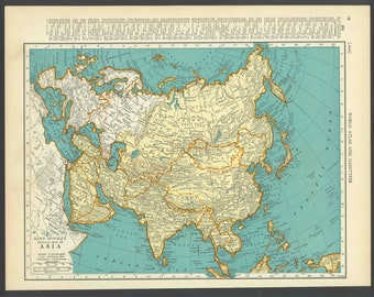 Vintage Map Asia From 1937 Original