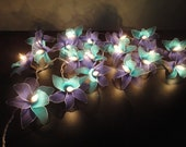SALE 2 Sets of 20 Blue-Deep blue-Orchid Flower Fairy String Lights Hanging Wedding Party Floral Home Decor 3.5m