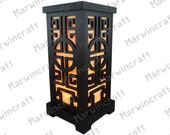 Asian Oriental Chinese Wood Carving Bamboo Design Art Bedside Table Lamp Wood Paper Light Shades Furniture Gift Living Bedroom Home Decor