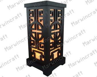 No Screw Design Asian Oriental Chinese Wood Carving Bamboo Zen Art Bedside Thai Floor Table Lamp Desk Light Shades Gift Living Bedroom Decor