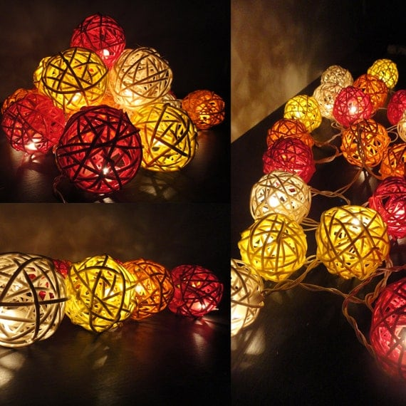 20 Mixed Fire Tone Rattan Tone Handmade Rattan Balls Fairy String Lights Home Decor