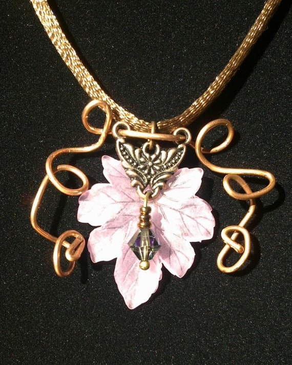 Faery of the Aether necklace - Lucite leaf with copper wire and bead detail