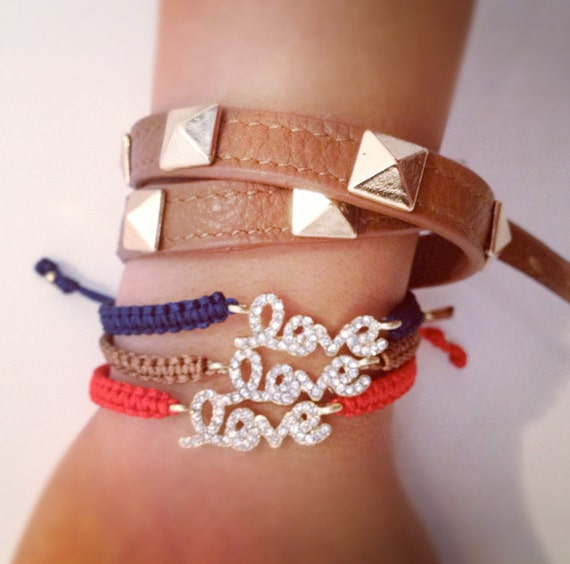 RHINESTONE LOVE BRACELET - adjustable - available in black, navy, tan, red
