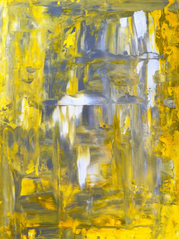 Acrylic Abstract Art Painting Grey, Yellow and White - Modern, Contemporary, Original 9 x 12