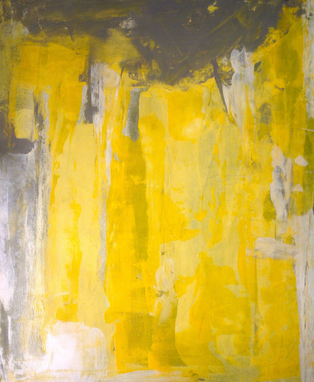 Acrylic abstract art painting grey yellow and white for Contemporary mural