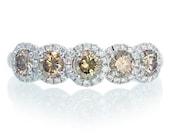 18K Champagne Diamond Five Stone Anniversary Wedding Band Ring