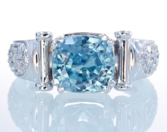 ONLY ONE LEFT 18 Karat White Gold Blue Zircon Diamond Ring