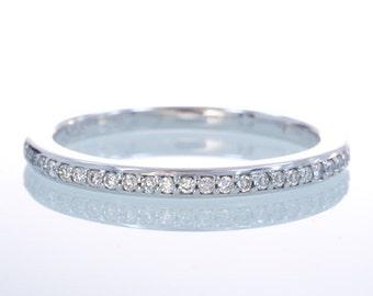 14 Karat White Gold Diamond Anniversary Wedding Stackable Band