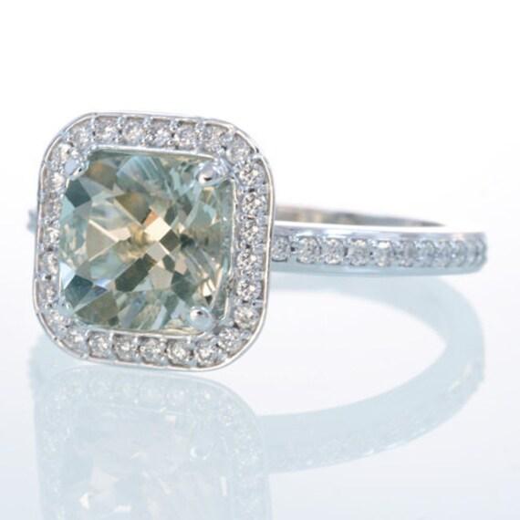 items similar to platinum cushion cut green amethyst With green amethyst wedding ring