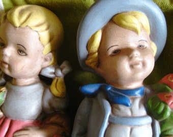 German children Figurines Set of TWO in MINT condition OOAK