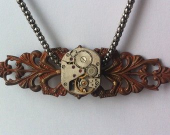 Steampunk Watch Movement Steampunk Choker Necklace with metal filigree setting - Deliver Me - Gift for Her