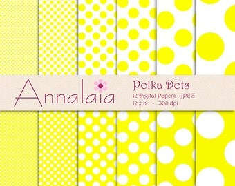 Yellow Digital Paper Pack: Yellow and White Polka Dots Scrapbook Paper Instant Download Scrapbooking Paper Commercial Use 095