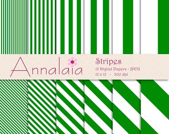 INSTANT DOWNLOAD Digital Paper Pack: Forest Green and White Stripes Lines 12x12 8,5x11 Scrapbook Paper Commercial Use 278