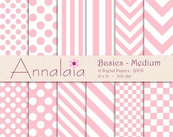 INSTANT DOWNLOAD Digital Paper Pack Pink and White Dots Stripes Chevron Checks Medium Basics 12x12 8,5x11 Baby Girl Scrapbook Paper 293