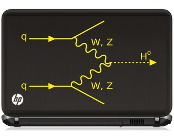 Science art Higgs boson formation in a Feynman diagram vinyl laptop decal tablet decal (ID: 181015)
