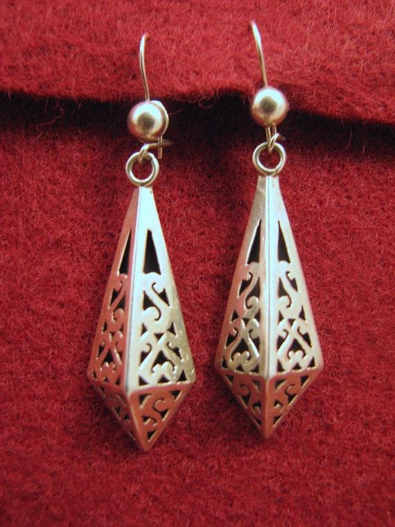 Vintage Sterling Silver ADAN ALVARADO Scrollwork 3D Earrings