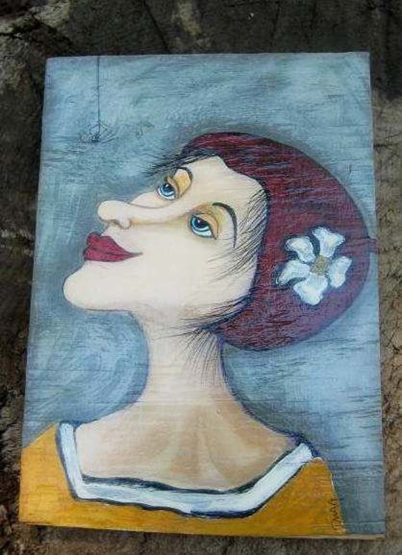 Painting girl spider french spider Faizine wood outsider