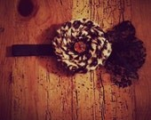 Cheetah print faux fur rosette and lace baby bow