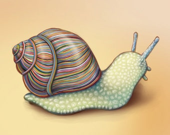 Colorful Snail / Wall Art Print /Nature /  animal / rainbow / shell / slug / whimsical / stripes / home decor / orange / green