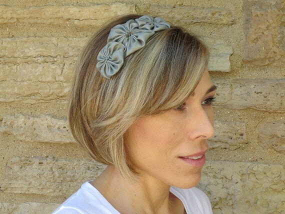 Adult Headband,Dark Mint Green Shantung Silk Rosette Trio Headband,Wedding Hair Accessories,Flower Girl Hair Accessories,701