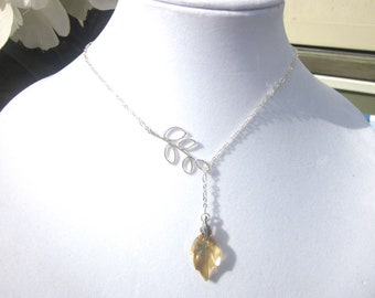 Sparkling Swarovski Crystal Golden Shadow Leaf Necklace- Lariat Style, Fall Jewelry
