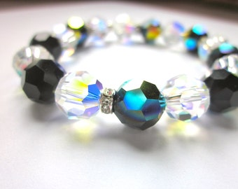 Sparkling Swarovski Crystal Jet black AB and Crystal AB Ball Bracelet