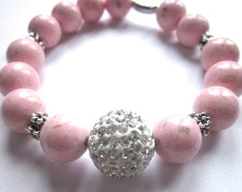 Pink Hope Bracelet, Pink Gemstones, Pave Bead Bracelet, Hope Bracelet, Awareness Jewelry