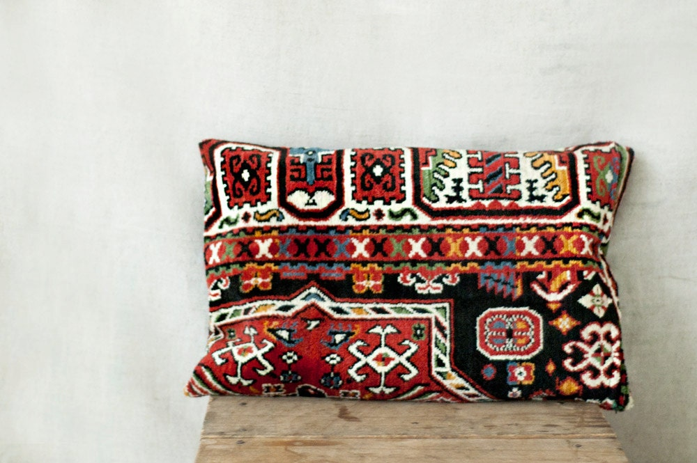 oriental rug pillow 12 x 18 ONE decorative kilim cushions