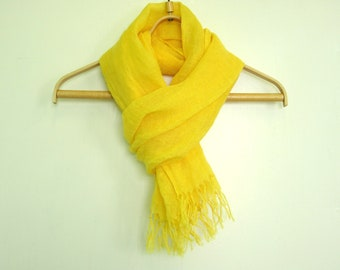 Yellow linen scarf with knot fringe Summer linen scarf Natural organic linen scarf Fashion