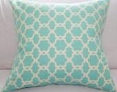 Pillow Cover Decorative Slipcover 18x18 in Aqua & Cream
