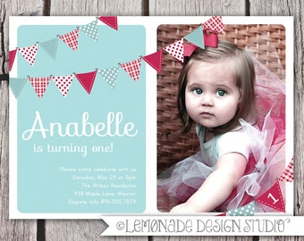 First Birthday Invitation Bunting Flags Banner Photo Printable Invite - Baby Blue and Red - 1 Year Old or 2 Year Old - Second Birthday