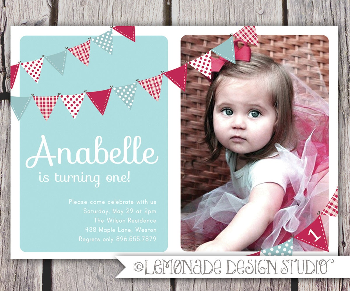 First Birthday Invitation Bunting Flags Banner Photo Printable – One Year Old Birthday Invitation