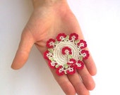Handmade Crochet Brooch With Turkish Lace, Circle Pin, Beadwork, ReddApple, Gift Ideas for Her, Women Accessory, Fashionable