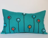 Turquoise Linen Pillow Case Dandelion Pen Drawing with Felt Balls Orange Red Light Turquoise Teal Light Blue 12x20 by tuliManna
