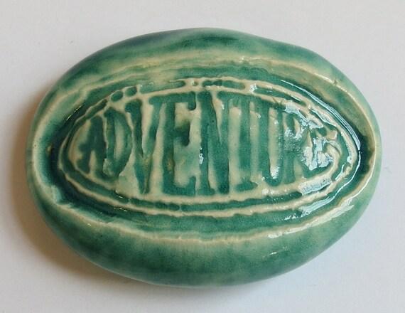 ADVENTURE Pocket Stone - Ceramic - TURQUOISE Art Glaze - Inspirational Art Piece