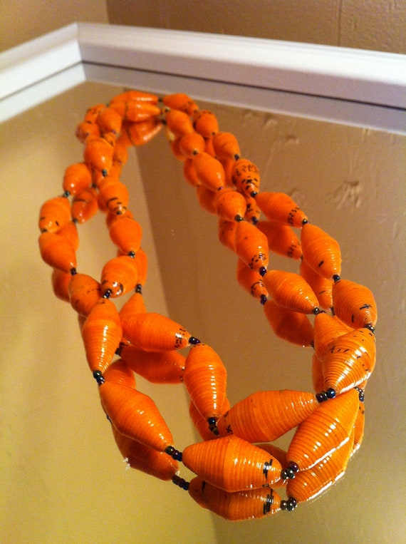 african paper beaded necklace: bright orange